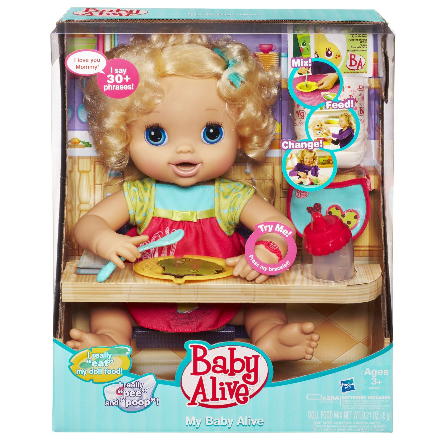 This Doll Eats, Pees, & Poops- A My Baby Alive Blonde Doll